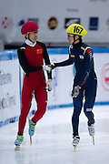 (L) runner-up Han Tianyu of China and (R) winner Park Se Yeong of South Korea after competition in the Men's 500 Meters on day two of the 2013 ISU Short Track Speed Skating Junior World Championships at Torwar Ice Hall on February 23, 2013 in Warsaw, Poland...Poland, Warsaw, February 23, 2013...Picture also available in RAW (NEF) or TIFF format on special request...For editorial use only. Any commercial or promotional use requires permission...Photo by © Adam Nurkiewicz / Mediasport