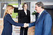 """Warsaw, Poland - 2017 April 19: (R) Mr David Haggerty - ITF President shakes hand with (L) Agata Barycka President Blind Tennis Poland while press conference during official visit of International Tennis Federation (ITF) at """"Orzel"""" Tennis Club  on April 19, 2017 in Warsaw, Poland.<br /> <br /> Mandatory credit:<br /> Photo by © Adam Nurkiewicz / Mediasport<br /> <br /> Adam Nurkiewicz declares that he has no rights to the image of people at the photographs of his authorship.<br /> <br /> Picture also available in RAW (NEF) or TIFF format on special request.<br /> <br /> Any editorial, commercial or promotional use requires written permission from the author of image."""