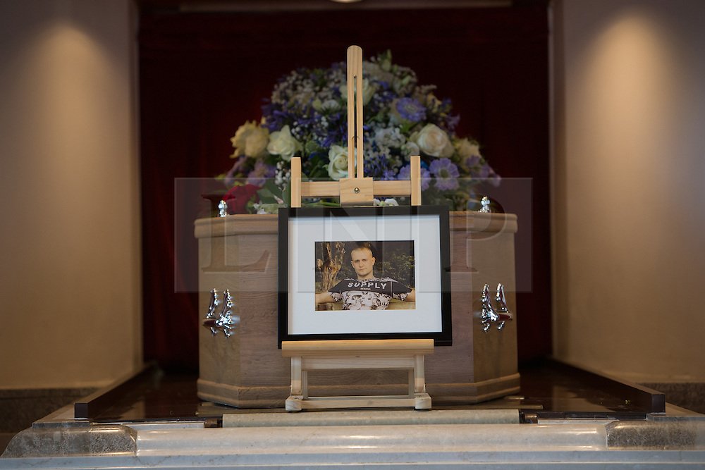 © Licensed to London News Pictures. 29/07/2016. Brighton, UK. Funeral of Sam Caulfield 20 from Mayfield who was stabbed in a flat in Crawley on the 8th of August 2016. Funeral was at Woodvale Crematorium, Lewes Road, Brighton.  Photo credit: Grant Melton/LNP
