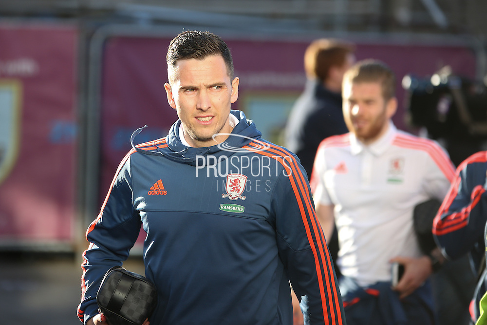 Stewart Downing of Middlesbrough arriving before the Sky Bet Championship match between Burnley and Middlesbrough at Turf Moor, Burnley, England on 19 April 2016. Photo by Simon Brady.
