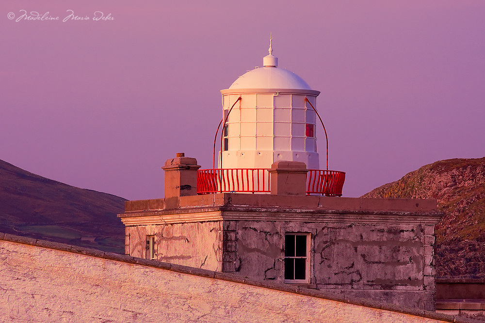 Closeup Valentia Island Lighthouse Tower during colourful sunset, County Kerry, Ireland irish landscapes / vl113