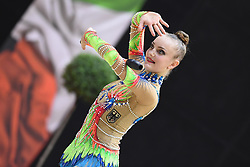 July 28, 2018 - Chieti, Abruzzo, Italy - Junior Rhythmic gymnast Margarita Kolosov of Germany performs her clubs routine during the Rhythmic Gymnastics pre World Championship Italy-Ukraine-Germany at Palatricalle on 29th of July 2018 in Chieti Italy. (Credit Image: © Franco Romano/NurPhoto via ZUMA Press)
