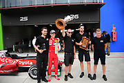 Marcus Armstrong and his crew celebrate after winning the NZ Motor Cup.<br /> NZ Motor Cup race, Castrol Toyota Racing Series at Hampton Downs on Sunday January 27 2019.<br /> Copyright photo: Bruce Jenkins / www.photosport.nz