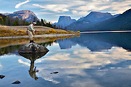 Fly-fisherman, Square Top, Mountina, Green River Lake, Wind River Mountains, Pinedale, Wyoming,