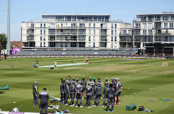 Pakistan players team talk during the nets session at the Bristol County Ground.