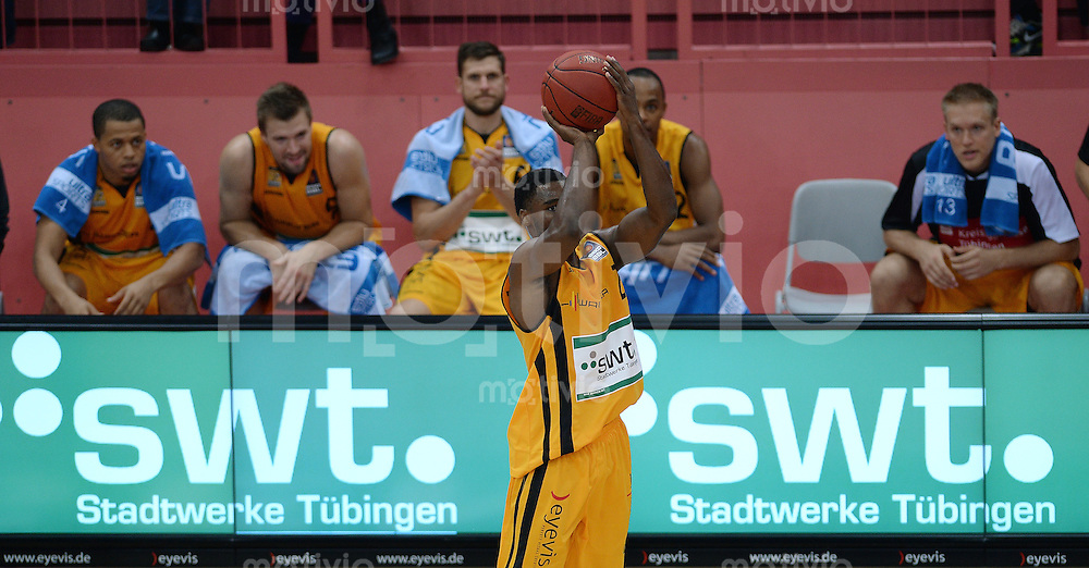 Basketball 1. Bundesliga 2013/2014  27.09.2013 Testspiel Walter Tigers Tuebingen - Antwerpen Giants Josh Young (Tigers) mit Ball