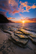 Sunset over the Na Pali Coast from Ke'e Beach, Haena State Park, Kauai, Hawaii USA