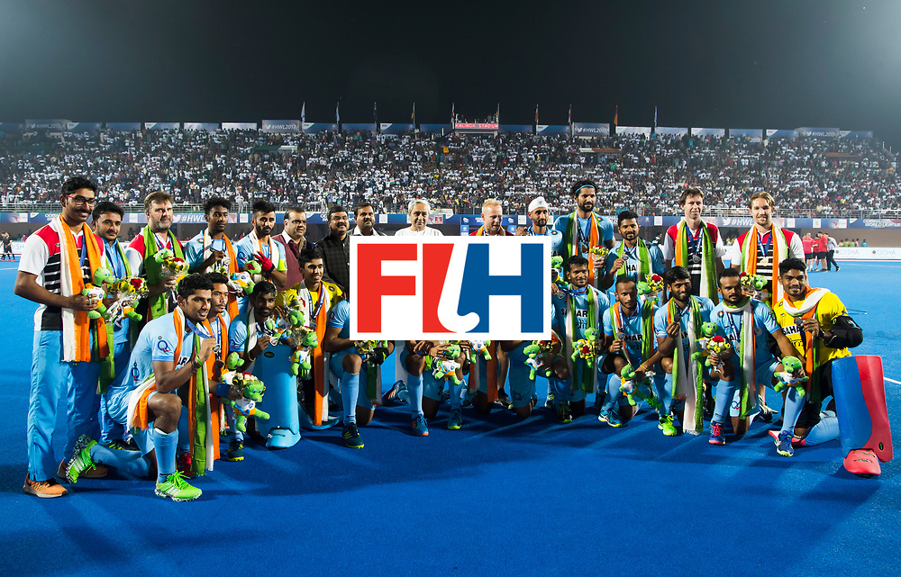 BHUBANESWAR - Hockey World League finals Match for bronze , Germany v India (1-2). Team India. COPYRIGHT KOEN SUYK