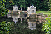 1700s Studley Lake, in Studley Royal Park, near Ripon and Aldfield, in North Yorkshire, England, United Kingdom, Europe. Studley Royal Park including the Ruins of Fountains Abbey is honored as a UNESCO World Heritage Site.