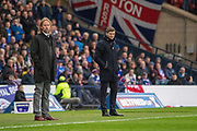 Hearts Interim Manager Austin MacPhee alongside Rangers Manager Steven Gerrard during the Betfred Scottish League Cup semi-final match between Rangers and Heart of Midlothian at Hampden Park, Glasgow, United Kingdom on 3 November 2019.