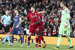 October 24, 2018 - Liverpool, United Kingdom - Liverpool forward Sadio Mane (10) celebrates with Liverpool midfielder Adam Lallana (20) after scoring his goal during the Uefa Champions League Group Stage football match n.3  Liverpool v FK Crvena Zvezda on October 24, 2018, at the Anfield Road in Liverpool, England. (Credit Image: © Matteo Bottanelli/NurPhoto via ZUMA Press)