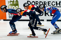 Sven Roes, Friso Emons in action on the 1500 meter during ISU World Cup Finals Shorttrack 2020 on February 15, 2020 in Optisport Sportboulevard Dordrecht.