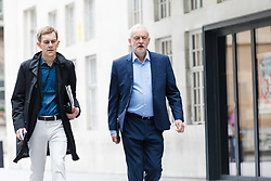 © Licensed to London News Pictures. 23/07/2017. LONDON, UK.  JEREMY CORBYN, Labour Party leader with SEUMAS MILNE, journalist  arrives at BBC Broadcasting House to appear on the Andrew Marr Show.  Photo credit: Vickie Flores/LNP