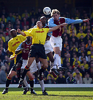 Photo: Scott Heavey<br />Watford V Burnley. 09/03/03.<br />Gareth Taylor outjumps the Watford defence and narrowlly misses the target during this FA Cup quarter final between these two first division teams.