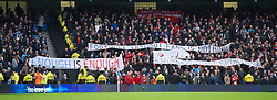 MANCHESTER, ENGLAND - Sunday, February 3, 2013: Liverpool fans protest against high ticket prices with banners '£nough is £nough [Enough is Enough]', 'A Working Class Sport?', 'Football Without Fans Is Nothing' during the Premiership match against Manchester City at the City of Manchester Stadium. (Pic by David Rawcliffe/Propaganda)