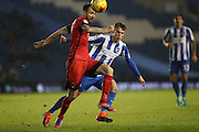 Leyton Orient midfielder Michael Collins and Brighton & Hove Albion striker Solomon March (20) during the EFL Trophy Southern Group G match between U23 Brighton and Hove Albion and Leyton Orient at the American Express Community Stadium, Brighton and Hove, England on 8 November 2016.