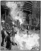 Tapping blast furnace and casting iron into 'pigs, Siemens Iron and Steel Works, Landore, South Wales. From 'The English Illustrated Magazine', London, 1885.  Engraving