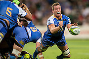 Angus Cottrell of the Western Force shovels out a pass from a breakdown during the Canterbury Crusaders v the Western Force Super Rugby Match. Nib Stadium, Perth, Western Australia, 8th April 2016. Copyright Image: Daniel Carson / www.photosport.nz