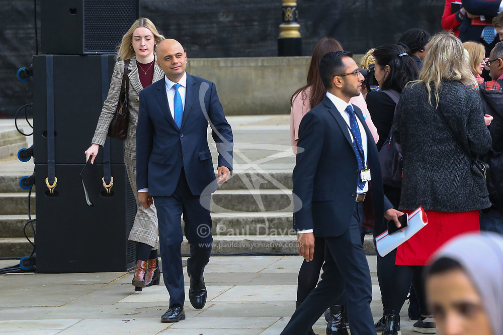 Secretary of State for Housing, Communities and Local Government Sajid Javid arrives in Parliament Square.<br /> A statue designed by Turner Prize-winning artist Gillian Wearing OBE of suffragist leader Millicent Fawcett is unveiled in Parliament Square by XXXX. The sculpture is the first-ever monument to a woman and the first designed by a woman to stand within the square and follows the successful campaign by feminist campaigner Caroline Criado-Perez who organised an 85,000 signature petition. London, April 24 2018.
