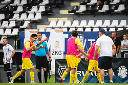 Players of Domzale celebrating their goal during football match between NŠ Mura and NK Domžale in 30th Round of Prva liga Telekom Slovenije 2019/20, on June 28, 2020 in Fazanerija, Murska Sobota, Slovenia. Photo by Blaž Weindorfer / Sportida