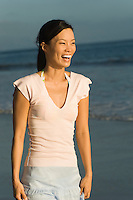 Laughing Woman on Beach