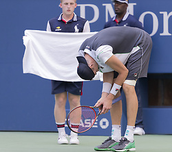 September 4, 2018 - New York, New York, United States - John Isner of USA reacts during US Open 2018 quarterfinal match against Juan Martin del Potro of Argentina at USTA Billie Jean King National Tennis Center (Credit Image: © Lev Radin/Pacific Press via ZUMA Wire)