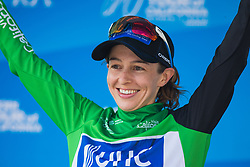 Katie Hall (USA) of UnitedHealthcare Cycling Team celebrates wearing the sprint competition's green jersey on Stage 2 of the Amgen Tour of California - a 108 km road race, starting and finishing in South Lake Tahoe on May 18, 2018, in California, United States. (Photo by Balint Hamvas/Velofocus.com)
