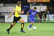 AFC Wimbledon striker Andy Barcham (17) dribbling during the Pre-Season Friendly match between AFC Wimbledon and Burton Albion at the Cherry Red Records Stadium, Kingston, England on 21 July 2017. Photo by Matthew Redman.