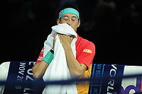 Tennis - 2018 Nitto ATP Finals at The O2 - Day Two<br /> <br /> Mens singles : Kevin Anderson (RSA) v Kei Nishikori (JPN)<br /> <br /> A dejected Kei Nishikori  of Japan on his way to a 6-0 6-1 defeat<br /> <br /> COLORSPORT/ANDREW COWIE