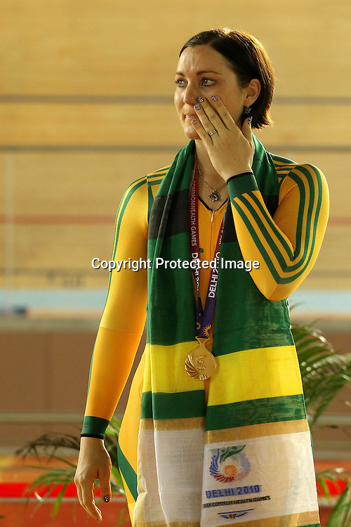 Anna Meares of Australia wins gold during the women's sprint final held at the velodrome at the Indira Gandhi Sports Complex in New Delhi, India on the 7 October 2010<br /> <br /> Photo by:  Ron Gaunt/SPORTZPICS/PHOTOSPORT