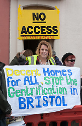 "© Licensed to London News Pictures.09/04/2016. Bristol, UK.  Protest to stop viewings of council houses for auction in City Road, St Pauls, Bristol. Campaigners want the council to stop selling off 15 council homes on 20 April by auction to the private sector. Bristol City Council says the homes are expensive to repair, but some campaigners question whether the costs of repairs are inflated, and also whether the homes will be bought and then relet to the Council for temporary accommodation at higher than normal rents. Bristol resident Roger Yates said: ""The idea the Council can't afford to do these places up is piffle. All over Bristol folk are improving property to increase its value on a rising housing market. These are valuable assets. But Ferguson (Bristol's elected mayor) wants to socially cleanse inner city Bristol so that his luvvie mates can move in. The poor will relocate to Hartcliffe or the street."" A group of residents of St. Paul's and the Inner City are working together to put pressure on BCC to stop the sale. They are working in partnership with The Community Rights Project, The Bristol People's Assembly, and members of the ACORN community union. Photo credit : Simon Chapman/LNP"