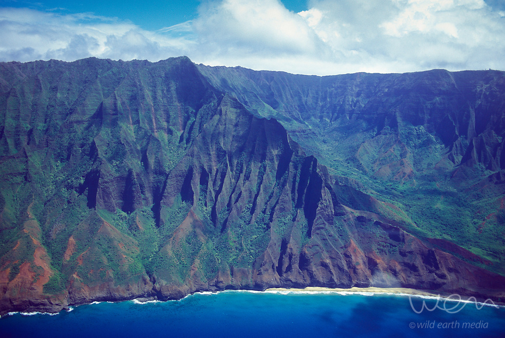 Aerial image of Kauai's spectacular Napali coast, Hawaii, USA.