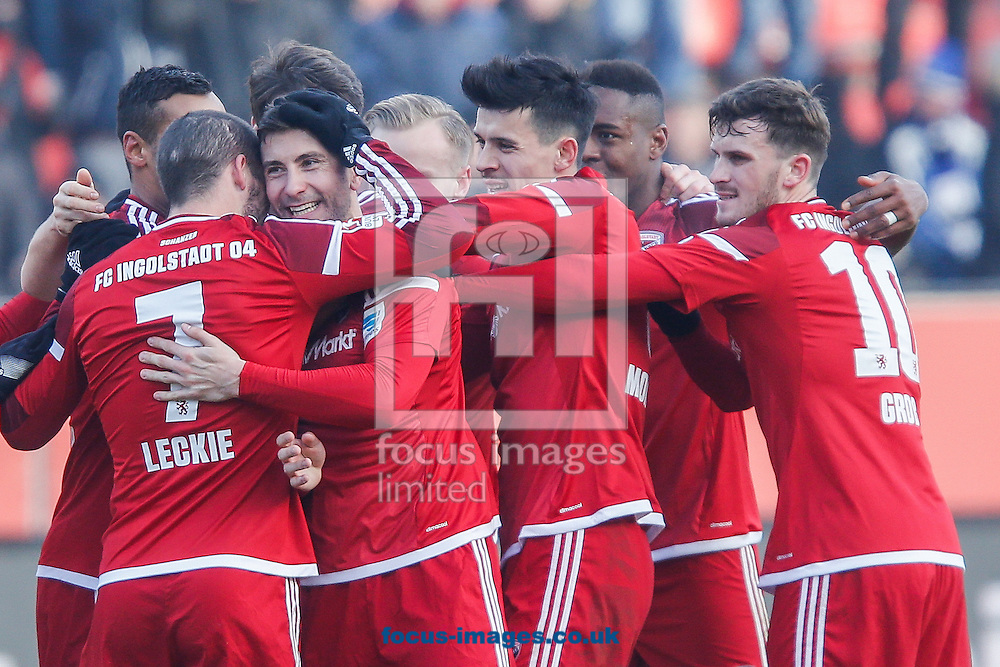 Markus Suttner of FC Ingolstadt 04 and team mates celebrate scoring their second goal against Hamburger SV during the Bundesliga match at Audi Sportpark, Ingolstadt<br /> Picture by EXPA Pictures/Focus Images Ltd 07814482222<br /> 28/01/2017<br /> *** UK &amp; IRELAND ONLY ***<br /> <br /> EXPA-EIB-170128-1307.jpg