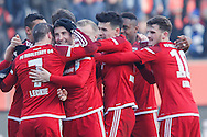 Markus Suttner of FC Ingolstadt 04 and team mates celebrate scoring their second goal against Hamburger SV during the Bundesliga match at Audi Sportpark, Ingolstadt<br /> Picture by EXPA Pictures/Focus Images Ltd 07814482222<br /> 28/01/2017<br /> *** UK & IRELAND ONLY ***<br /> <br /> EXPA-EIB-170128-1307.jpg