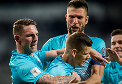 Rajko Rotman of Slovenia, Roman Bezjak of Slovenia and Bostjan Cesar of Slovenia celebrate after Roman Bezjak of Slovenia scored first goal for Slovenia during football match between National Teams of Slovenia and Scotland of Fifa 2018 World Cup European qualifiers, on October 8, 2017 in SRC Stozice, Ljubljana, Slovenia. Photo by Vid Ponikvar / Sportida