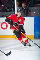 PENTICTON, CANADA - SEPTEMBER 10: Andrew Mangiapane #88 of Calgary Flames warms up against the Vancouver Canucks on September 10, 2017 at the South Okanagan Event Centre in Penticton, British Columbia, Canada.  (Photo by Marissa Baecker/Shoot the Breeze)  *** Local Caption ***