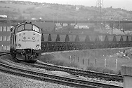 Diesel locomotive pulling a coal train near Tinsley Viaduct, Sheffield.