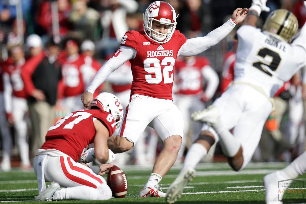Indiana place kicker Griffin Oakes (92) in action as Purdue played Indiana in an NCCA college football game in Bloomington, Ind., Saturday, Nov. 26, 2016. (AJ Mast)