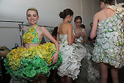 "Models wear designs made of SUBWAY packaging at the ""Project SUBWAY"" fashion show during New York Fashion Week, Wednesday, September 11, 2013, as part of SUBWAY Restaurants' SUBtember celebration.   (Photo by Diane Bondareff/Invision for Subway Restaurants)"