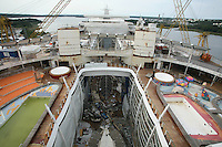 Oasis of the Seas at the shipyard in Turku, Finland where she is being built..Photos show Royal Caribbean's latest  ship 2 months before completion. .View looking down past the pool deck to Central Park.