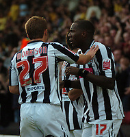 Photo: Tony Oudot/Sportsbeat Images.<br /> Watford v West Bromwich Albion. Coca Cola Championship. 03/11/2007.<br /> Ishmael Miller of West Brom celebrates his first goal with James Morrison