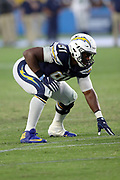 Los Angeles Chargers defensive tackle Caraun Reid (91) gets set during the 2017 NFL week 1 preseason football game against the Seattle Seahawks, Sunday, Aug. 13, 2017 in Carson, Calif. The Seahawks won the game 48-17. (©Paul Anthony Spinelli)