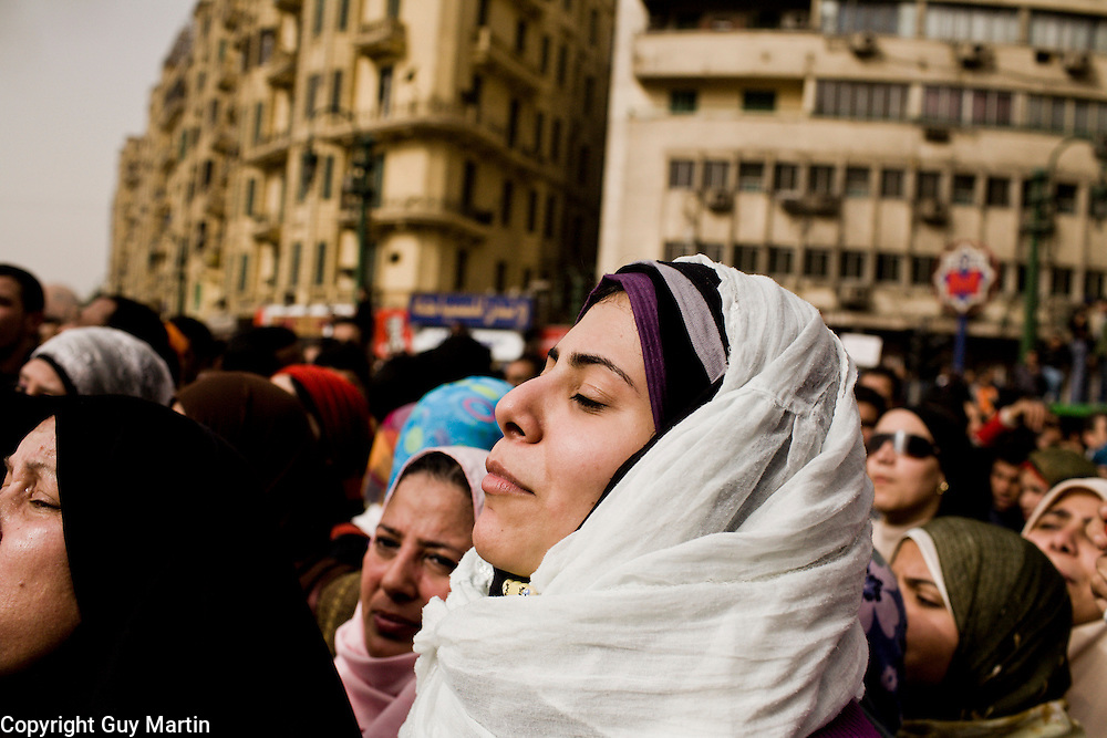 A group of women join the thousands of anti-government protesters in the centre of Tahrir Square. 25 January 2011 saw the beginning of a nationwide 18 day protest movement that eventually ended the 30-year rule of Hosni Mubarak and his National Democratic Party..