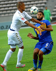 Cape Town-180224 Cape Town City Ebrahim Seedat challenging for a ball as WIts Nazeer Allie defending in their PSL game in Athlone Picture Ayanda Ndamane/African News Agency/ANA
