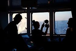 NORTH SEA MYAS 17JUN19 - Greenpeace crew members on the bridge of the Greenpeace ship Arctic Sunrise in the North Sea.<br /> <br /> jre/Photo by Jiri Rezac / Greenpeace<br /> <br /> © Jiri Rezac 2019