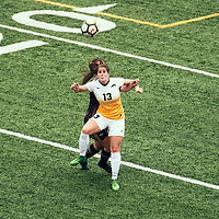 4th year forward, Sydney Langen (13) of the Regina Cougars during the Women's Soccer home opener on Sat Sep 08 at U of R Field. Credit: Arthur Ward/Arthur Images