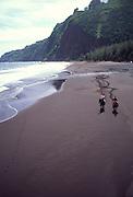 Horseback riding, Waipio Beach, Island of Hawaii, (editorial use only, no model release)<br />