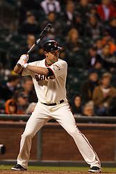 May 24, 2011; San Francisco, CA, USA;  San Francisco Giants left fielder Pat Burrell (5) at bat against the Florida Marlins during the ninth inning at AT&T Park. Florida defeated San Francisco 5-1.