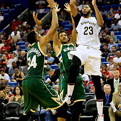 Nov 1, 2016; New Orleans, LA, USA; New Orleans Pelicans forward Anthony Davis (23) shoots over Milwaukee Bucks guard Rashad Vaughn (20) and forward Giannis Antetokounmpo (34) during the third quarter of a game at the Smoothie King Center. Mandatory Credit: Derick E. Hingle-USA TODAY Sports