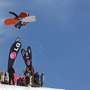 Manuel Pietropoli, Italy, flying high during his ninth place finish during the Men's Half Pipe Finals in the LG Snowboard FIS World Cup, during the Winter Games at Cardrona, Wanaka, New Zealand, 28th August 2011. Photo Tim Clayton....